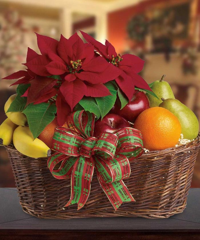 Festive Poinsettia Fruit Basket